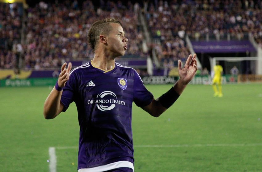 Aug 1, 2015; Orlando, FL, USA; Orlando City defender Tyler Turner (2) reacts during the second half at Orlando Citrus Bowl Stadium. Orlando City SC defeated the Columbus Crew 5-2. Mandatory Credit: Kim Klement-USA TODAY Sports