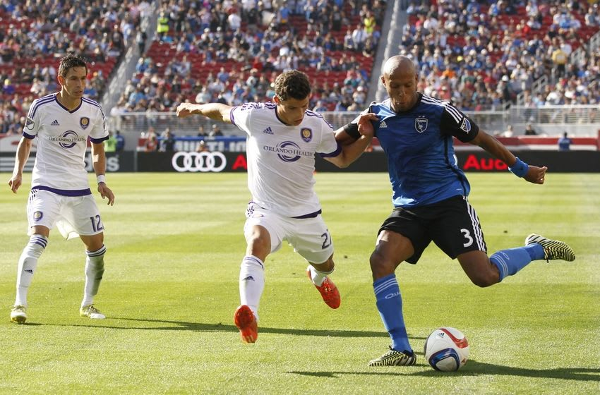 May 24, 2015; San Jose, CA, USA; San Jose Earthquakes defender Jordan Stewart (3) prepares to kick the ball next to Orlando City SC defender Rafael Ramos (27) in the second half at Levi