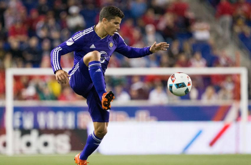 Apr 24, 2016; Harrison, NJ, USA; Orlando City FC defender Rafael Ramos (27) controls the ball against the New York Red Bulls during the first half at Red Bull Arena. Mandatory Credit: Bill Streicher-USA TODAY Sports