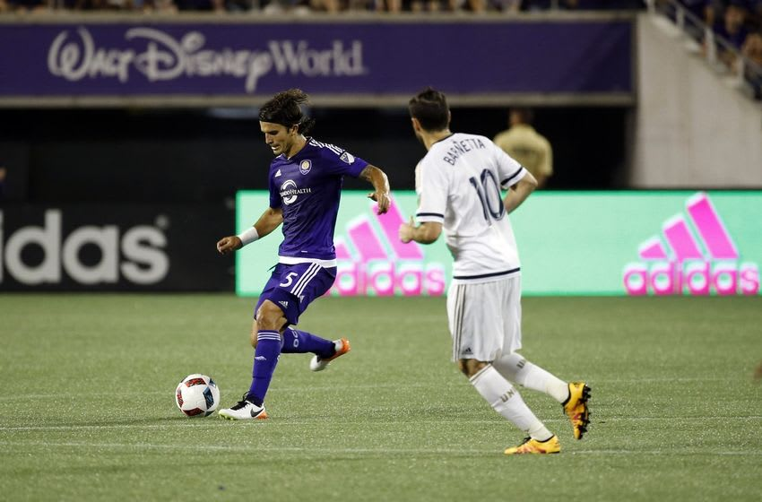 May 25, 2016; Orlando, FL, USA; Orlando City SC midfielder Servando Carrasco (5) passes the ball against the Philadelphia Union during the second half at Camping World Stadium. Orlando City SC and Philadelphia Union end in a 2-2 draw. Mandatory Credit: Kim Klement-USA TODAY Sports