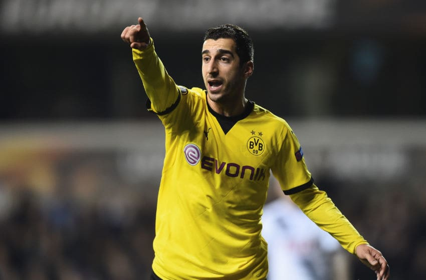 LONDON, ENGLAND - MARCH 17: Henrikh Mkhitaryan of Borrussia Dortmund looks on during the UEFA Europa League Round of 16 second leg match between Tottenham Hotspur and Borussia Dortmund at White Hart Lane on March 17, 2016 in London, England. (Photo by Laurence Griffiths/Getty Images)