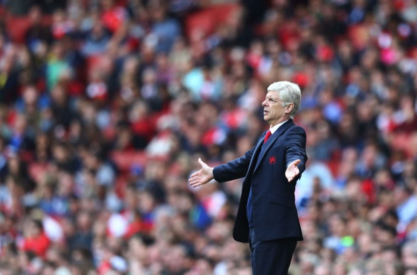LONDON, UNITED KINGDOM - MAY 15: Arsene Wenger Manager of Arsenal reacts during the Barclays Premier League match between Arsenal and Aston Villa at Emirates Stadium on May 15, 2016 in London, England. (Photo by Julian Finney/Getty Images)
