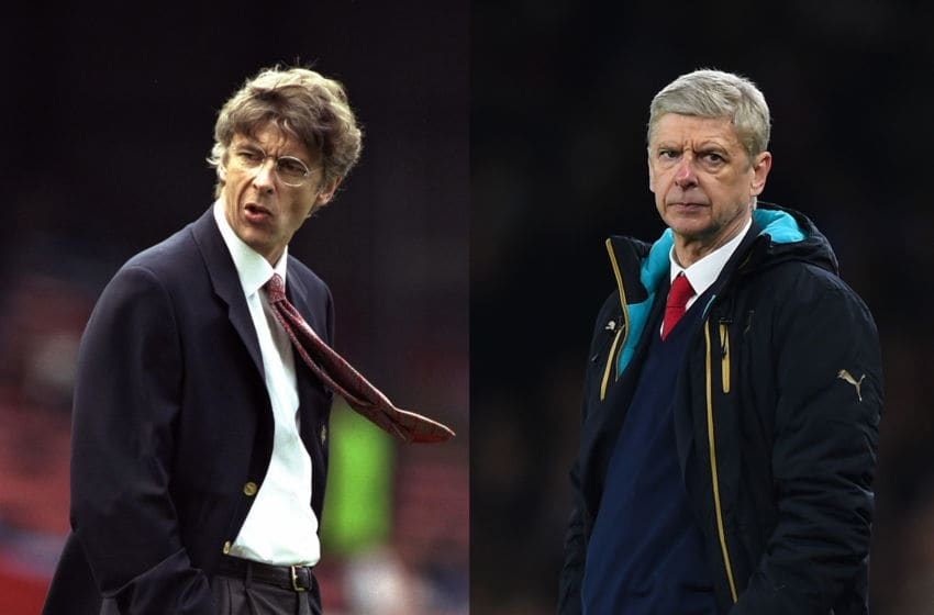 FILE PHOTO - (EDITORS NOTE: COMPOSITE OF TWO IMAGES - Image numbers (L) 1530530 and 511891146) In this composite image a comparison has been made between Arsene Wenger,Manager of Arsenal (L) in 1996 and in 2016. Arsene Wenger celebrates 20 years in charge of Arsenal this season. ***LEFT IMAGE*** 2 Nov 1996: Arsene Wenger the manager of Arsenal during the FA Carling Premier league match between Wimbledon and Arsenal at Selhurst Park in London. The match ended in a 2-2 draw. Mandatory Credit: Stu Forster/Allsport ***RIGHT IMAGE***LONDON, ENGLAND - FEBRUARY 23: Arsene Wenger the manager of Arsenal looks on during the UEFA Champions League round of 16, first leg match between Arsenal FC and FC Barcelona at the Emirates Stadium on February 23, 2016 in London, United Kingdom. (Photo by Shaun Botterill/Getty Images)