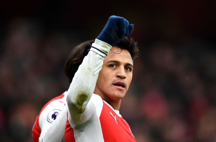 LONDON, ENGLAND - FEBRUARY 11: Alexis Sanchez of Arsenal celebrates scoring the opening goal during the Premier League match between Arsenal and Hull City at Emirates Stadium on February 11, 2017 in London, England. (Photo by Laurence Griffiths/Getty Images)