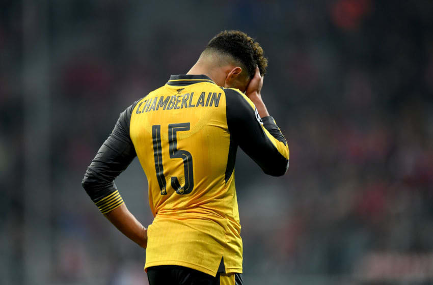 MUNICH, GERMANY - FEBRUARY 15: Alex Oxlade Chamberlain of Arsenal looks dejected after the UEFA Champions League Round of 16 first leg match between FC Bayern Muenchen and Arsenal FC at Allianz Arena on February 15, 2017 in Munich, Germany. (Photo by Matthias Hangst/Bongarts/Getty Images)
