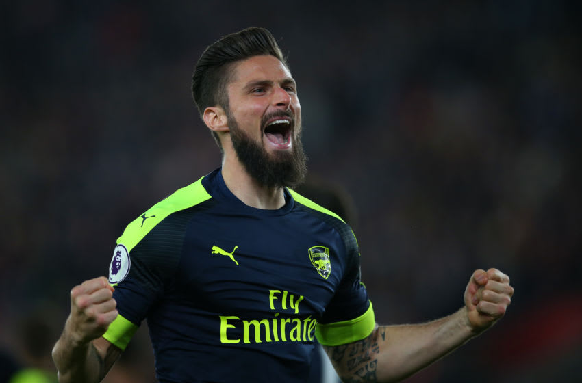 SOUTHAMPTON, ENGLAND - MAY 10: Olivier Giroud of Arsenal celebrates after scoring to make it 0-2 during the Premier League match between Southampton and Arsenal at St Mary's Stadium on May 10, 2017 in Southampton, England. (Photo by Catherine Ivill - AMA/Getty Images)