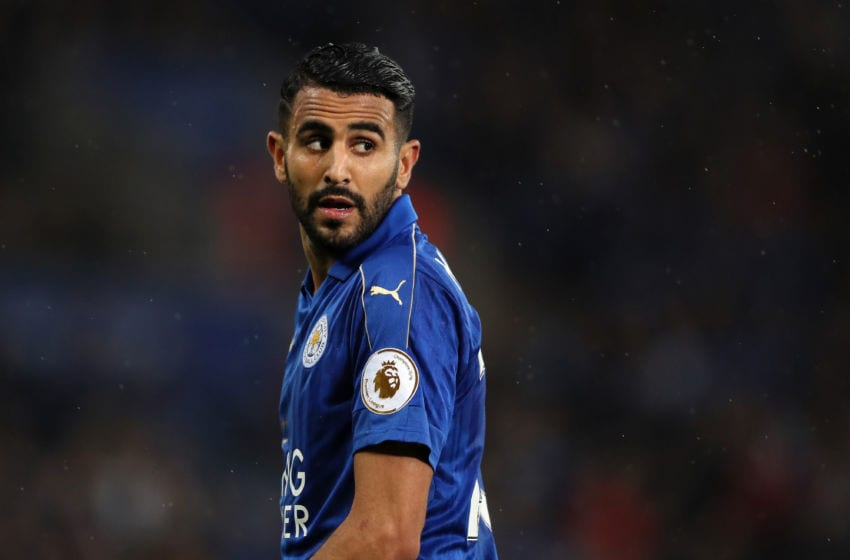 LEICESTER, ENGLAND - MAY 18: Riyad Mahrez of Leicester City looks on during the Premier League match between Leicester City and Tottenham Hotspur at The King Power Stadium on May 18, 2017 in Leicester, England. (Photo by Matthew Ashton - AMA/Getty Images)
