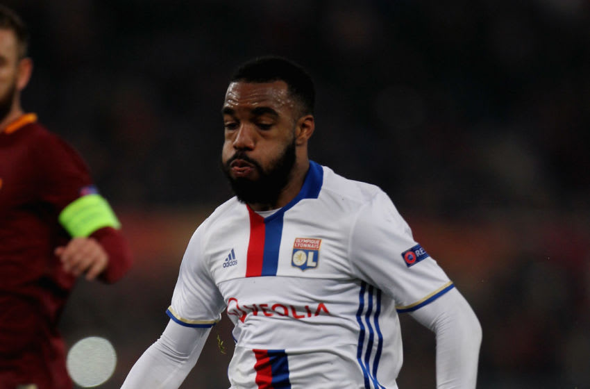ROME, ITALY - MARCH 16: Alexandre Lacazette of Olympique Lyonnais in action during the UEFA Europa League Round of 16 second leg match between AS Roma and Olympique Lyonnais at Stadio Olimpico on March 16, 2017 in Rome, Italy. (Photo by Paolo Bruno/Getty Images )