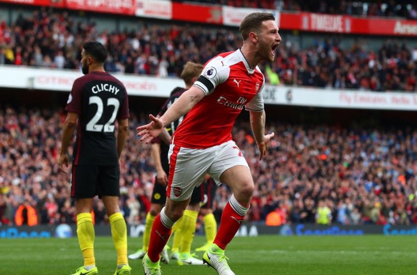 LONDON, ENGLAND - APRIL 02: Shkodran Mustafi of Arsenal celebrates scoring his sides second goal during the Premier League match between Arsenal and Manchester City at Emirates Stadium on April 2, 2017 in London, England. (Photo by Clive Rose/Getty Images)