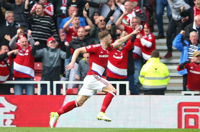 MIDDLESBROUGH, ENGLAND - APRIL 30: Calum Chambers of Middlesbrough celebrates scoring his sides second goal during the Premier League match between Middlesbrough and Manchester City at the Riverside Stadium on April 30, 2017 in Middlesbrough, England. (Photo by Alex Livesey/Getty Images)