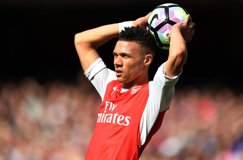 LONDON, ENGLAND - MAY 07: Keiran Gibbs of Arsenal in action during the Premier League match between Arsenal and Manchester United at Emirates Stadium on May 7, 2017 in London, England. (Photo by Laurence Griffiths/Getty Images)