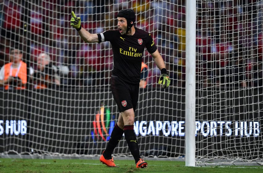 SINGAPORE - JULY 26: Petr Cech #1 of Arsenal reacts during the International Champions Cup 2018 match between Club Atletico de Madrid and Arsenal at the National Stadium on July 26, 2018 in Singapore. (Photo by Thananuwat Srirasant/Getty Images for ICC)