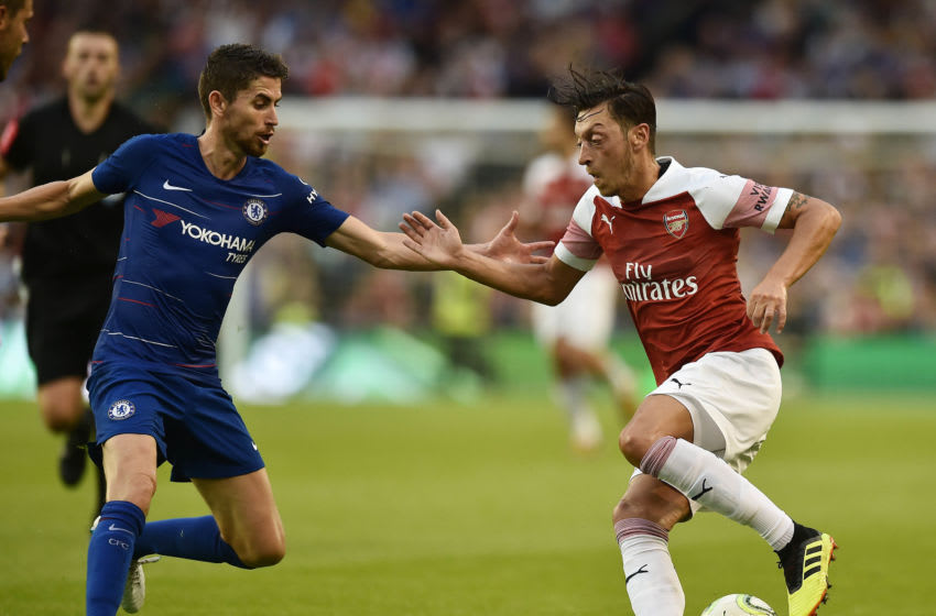 DUBLIN, IRELAND - AUGUST 01: Mesut Ozil of Arsenal and Jorginho of Chelsea during the Pre-season friendly International Champions Cup game between Arsenal and Chelsea at Aviva stadium on August 1, 2018 in Dublin, Ireland. (Photo by Charles McQuillan/Getty Images)