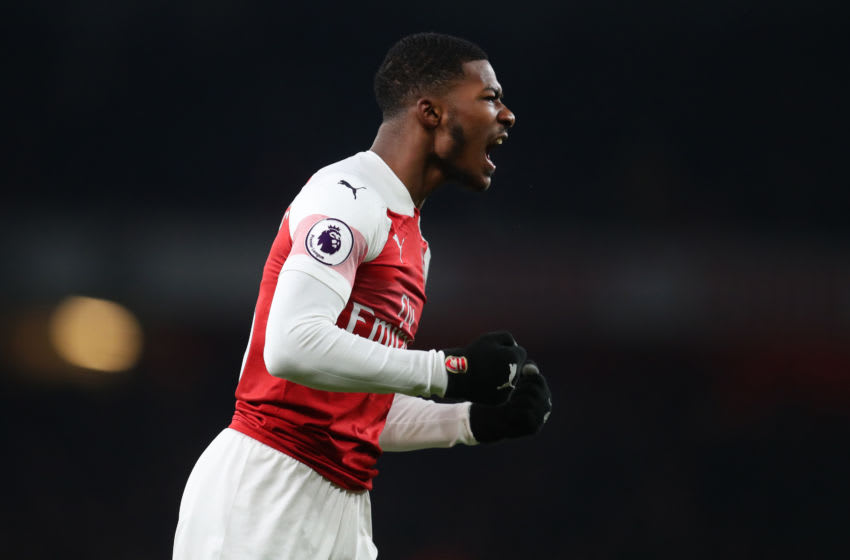 LONDON, ENGLAND - JANUARY 19: Ainsley Maitland-Niles of Arsenal celebrates his team's victory after the Premier League match between Arsenal FC and Chelsea FC at Emirates Stadium on January 19, 2019 in London, United Kingdom. (Photo by Catherine Ivill/Getty Images)