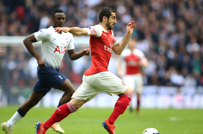 LONDON, ENGLAND - MARCH 02: Henrikh Mkhitaryan of Arsenal in action during the Premier League match between Tottenham Hotspur and Arsenal FC at Wembley Stadium on March 02, 2019 in London, United Kingdom. (Photo by Julian Finney/Getty Images)