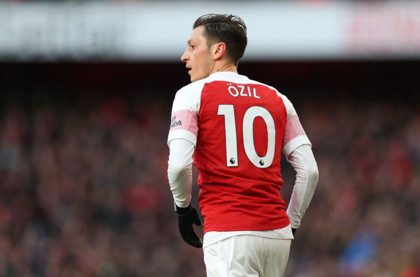 LONDON, ENGLAND - MARCH 10: Mesut Ozil of Arsenal during the Premier League match between Arsenal FC and Manchester United at Emirates Stadium on March 10, 2019 in London, United Kingdom. (Photo by Catherine Ivill/Getty Images)