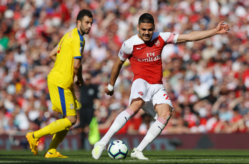 LONDON, ENGLAND - APRIL 21: Konstantinos Mavropanos of Arsenal shoots during the Premier League match between Arsenal FC and Crystal Palace at Emirates Stadium on April 21, 2019 in London, United Kingdom. (Photo by Warren Little/Getty Images)