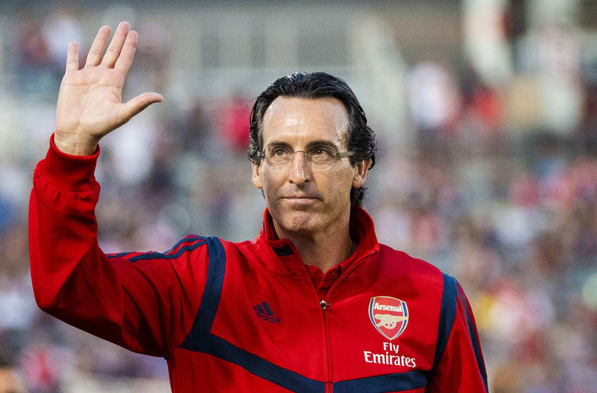 COMMERCE CITY, CO - JULY 15: Arsenal manager Unai Emery waves to fans at Dick's Sporting Goods Park on July 15, 2019 in Commerce City, Colorado. (Photo by Timothy Nwachukwu/Getty Images)