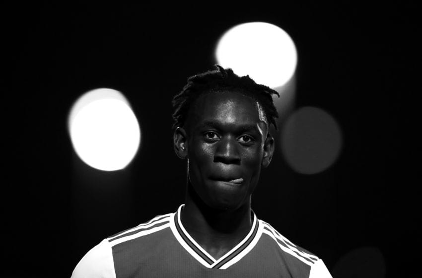 BARNET, ENGLAND - JULY 24: (EDITOR'S NOTE: This image has been converted to black and white). Folarin Balogun of Arsenal walks off the pitch after the Pre-Season Friendly match between Barnet and Arsenal at The Hive on July 24, 2019 in Barnet, England. (Photo by Jack Thomas/Getty Images)