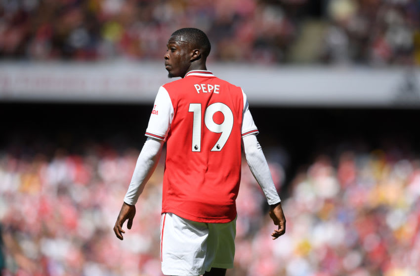 LONDON, ENGLAND - AUGUST 17: Nicolas Pepe of Arsenal during the Premier League match between Arsenal FC and Burnley FC at Emirates Stadium on August 17, 2019 in London, United Kingdom. (Photo by Michael Regan/Getty Images)
