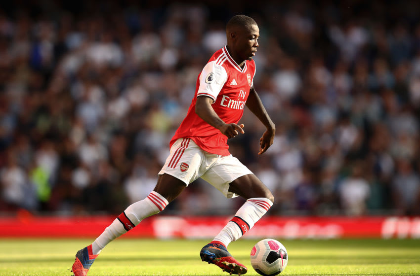 LONDON, ENGLAND - SEPTEMBER 01: Nicolas Pepe of Arsenal in action during the Premier League match between Arsenal FC and Tottenham Hotspur at Emirates Stadium on September 01, 2019 in London, United Kingdom. (Photo by Julian Finney/Getty Images)