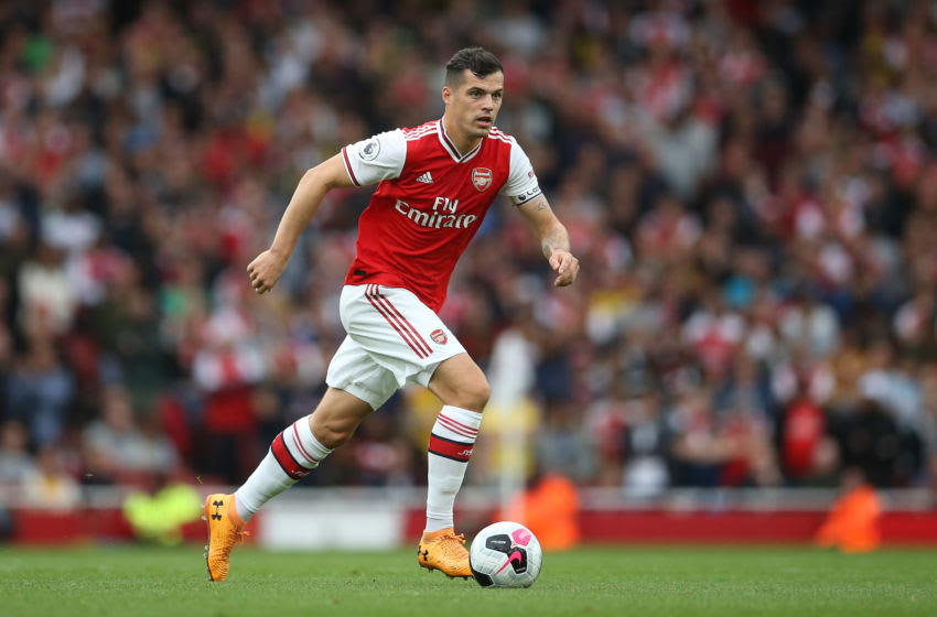 LONDON, ENGLAND - SEPTEMBER 22: Granit Xhaka of Arsenal in action during the Premier League match between Arsenal FC and Aston Villa at Emirates Stadium on September 22, 2019 in London, United Kingdom. (Photo by Steve Bardens/Getty Images)