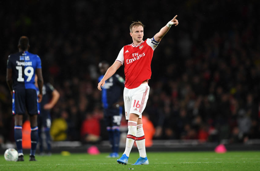 LONDON, ENGLAND - SEPTEMBER 24: Rob Holding of Arsenal celebrates scoring his teams second goal of the game during the Carabao Cup Third Round match between Arsenal FC and Nottingham Forrest at Emirates Stadium on September 24, 2019 in London, England. (Photo by Laurence Griffiths/Getty Images)