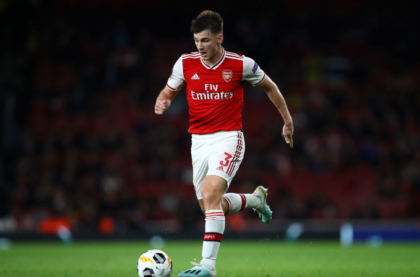 LONDON, ENGLAND - OCTOBER 03: Kieran Tierney of Arsenal in action during the UEFA Europa League group F match between Arsenal FC and Standard Liege at Emirates Stadium on October 03, 2019 in London, United Kingdom. (Photo by Julian Finney/Getty Images)
