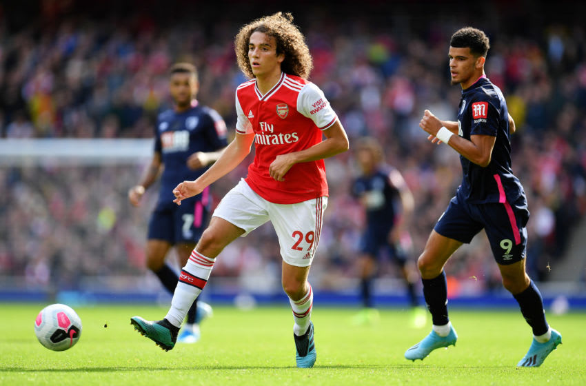 LONDON, ENGLAND - OCTOBER 06: Matteo Guendouzi of Arsenal passes the ball during the Premier League match between Arsenal FC and AFC Bournemouth at Emirates Stadium on October 06, 2019 in London, United Kingdom. (Photo by Justin Setterfield/Getty Images)