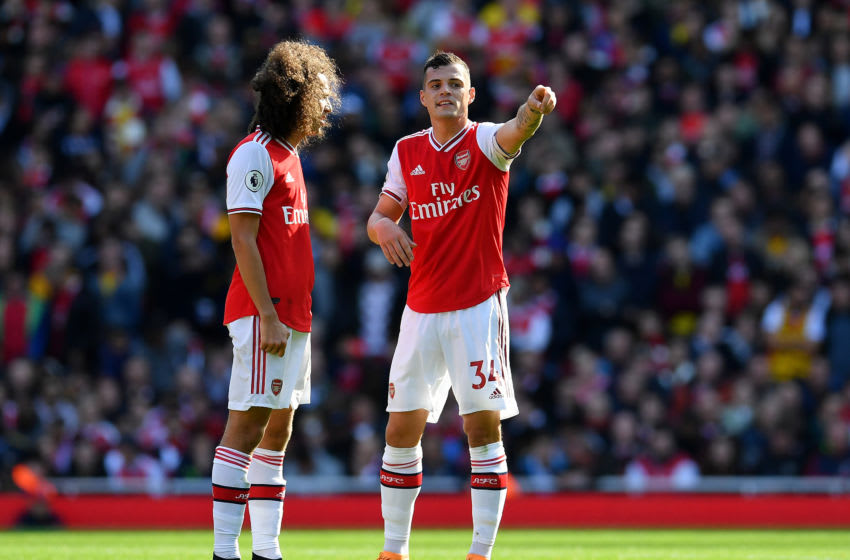 LONDON, ENGLAND - OCTOBER 06: Granit Xhaka of Arsenal gestures during the Premier League match between Arsenal FC and AFC Bournemouth at Emirates Stadium on October 06, 2019 in London, United Kingdom. (Photo by Justin Setterfield/Getty Images)