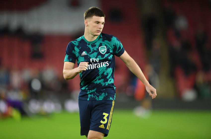 SHEFFIELD, ENGLAND - OCTOBER 21: Kieran Tierney of Arsenal warms up ahead of the Premier League match between Sheffield United and Arsenal FC at Bramall Lane on October 21, 2019 in Sheffield, United Kingdom. (Photo by Michael Regan/Getty Images)