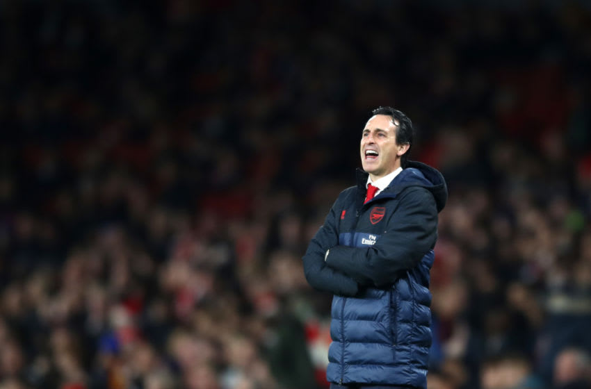 LONDON, ENGLAND - OCTOBER 24: Unai Emery, Manager of Arsenal reacts during the UEFA Europa League group F match between Arsenal FC and Vitoria Guimaraes at Emirates Stadium on October 24, 2019 in London, United Kingdom. (Photo by Bryn Lennon/Getty Images)