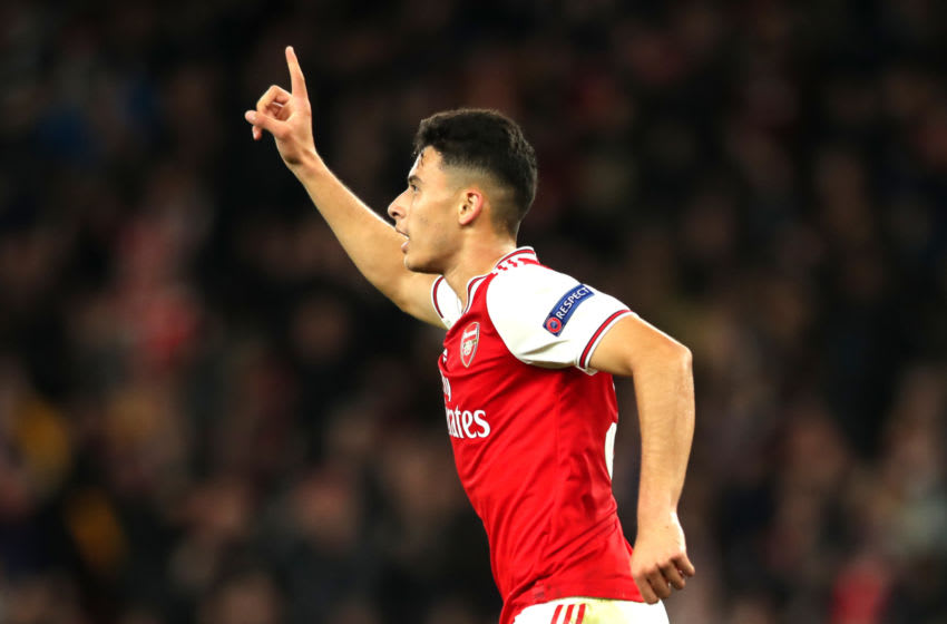 LONDON, ENGLAND - OCTOBER 24: Gabriel Martinelli of Arsenal celebrates after scoring his team's first goal during the UEFA Europa League group F match between Arsenal FC and Vitoria Guimaraes at Emirates Stadium on October 24, 2019 in London, United Kingdom. (Photo by Naomi Baker/Getty Images)