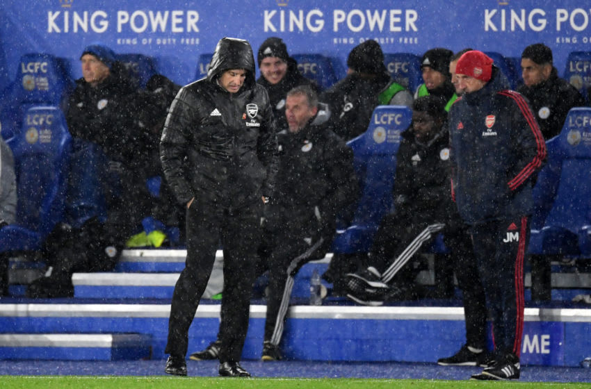 LEICESTER, ENGLAND - NOVEMBER 09: Unai Emery, Manager of Arsenal reacts during the Premier League match between Leicester City and Arsenal FC at The King Power Stadium on November 09, 2019 in Leicester, United Kingdom. (Photo by Ross Kinnaird/Getty Images)