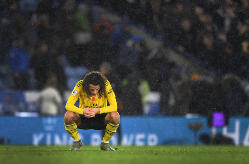 LEICESTER, ENGLAND - NOVEMBER 09: Matteo Guendouzi of Arsenal reacts at full-time following the Premier League match between Leicester City and Arsenal FC at The King Power Stadium on November 09, 2019 in Leicester, United Kingdom. (Photo by Michael Regan/Getty Images)