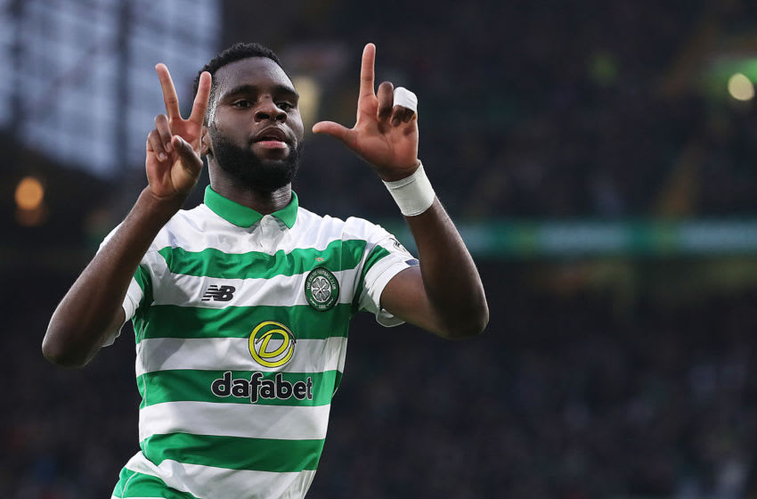 GLASGOW, SCOTLAND - NOVEMBER 23: Odsonne Edouard of Celtic celebrates scoring the opening goal during the Ladbrokes Premiership match between Celtic and Livingston at Celtic Park on November 23, 2019 in Glasgow, Scotland. (Photo by Ian MacNicol/Getty Images)