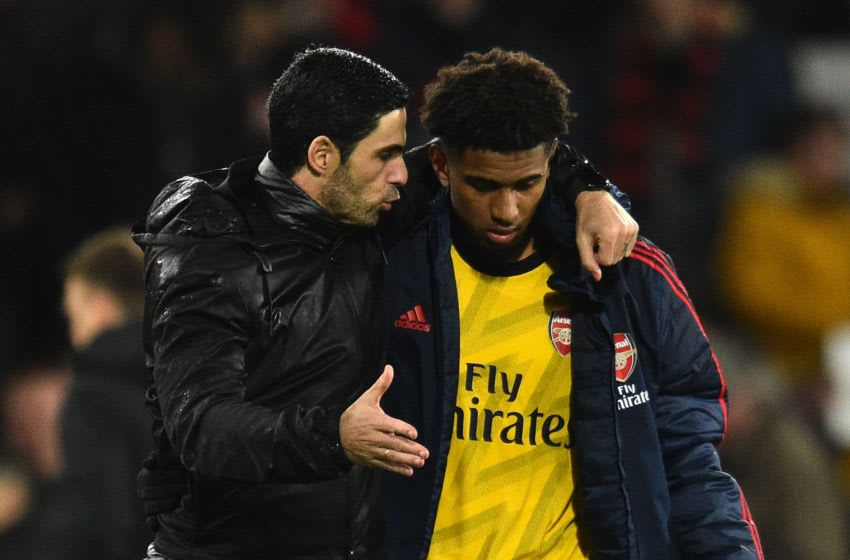Arsenal, Reiss Nelson, Mikel Arteta (Photo by GLYN KIRK/AFP via Getty Images)
