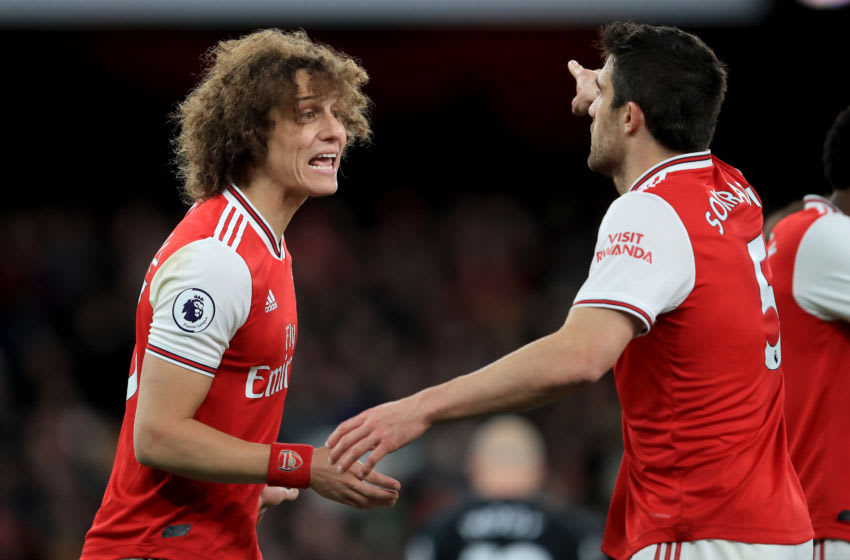 Arsenal, David Luiz, Sokratis (Photo by Marc Atkins/Getty Images)