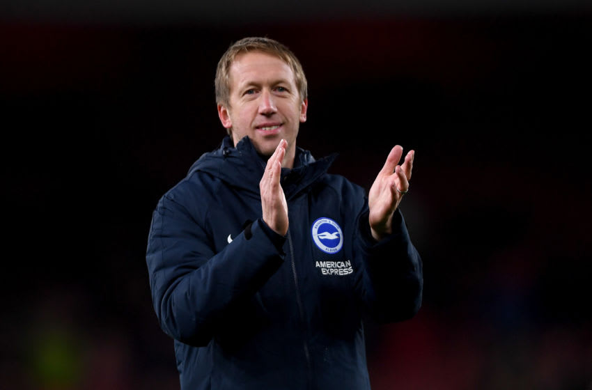 LONDON, ENGLAND - DECEMBER 05: Head coach Graham Potter of Brighton reacts after winning the Premier League match between Arsenal FC and Brighton & Hove Albion at Emirates Stadium on December 05, 2019 in London, United Kingdom. (Photo by Mike Hewitt/Getty Images)