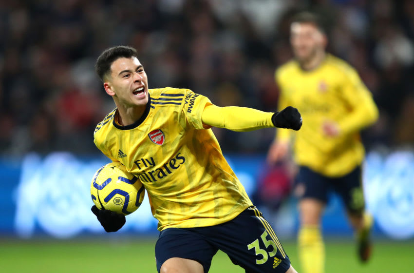 LONDON, ENGLAND - DECEMBER 09: Gabriel Martinelli of Arsenal celebrates after scoring his sides first goal during the Premier League match between West Ham United and Arsenal FC at London Stadium on December 09, 2019 in London, United Kingdom. (Photo by Julian Finney/Getty Images)