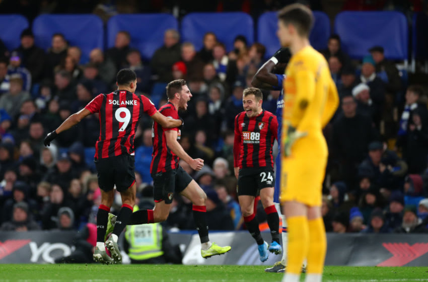 LONDON, ENGLAND - DECEMBER 14: Dan Gosling of AFC Bournemouth celebrates after scoring his team's first goal during the Premier League match between Chelsea FC and AFC Bournemouth at Stamford Bridge on December 14, 2019 in London, United Kingdom. (Photo by Clive Rose/Getty Images)