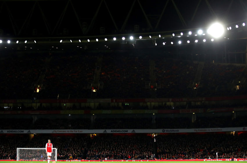 LONDON, ENGLAND - DECEMBER 15: General view inside the stadium as Mesut Ozil of Arsenal prepares to take a free kick during the Premier League match between Arsenal FC and Manchester City at Emirates Stadium on December 15, 2019 in London, United Kingdom. (Photo by Julian Finney/Getty Images)