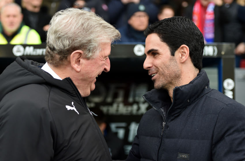 LONDON, ENGLAND - JANUARY 11: Roy Hodgson, Manager of Crystal Palace speaks with Mikel Arteta, Manager of Arsenal prior to the Premier League match between Crystal Palace and Arsenal FC at Selhurst Park on January 11, 2020 in London, United Kingdom. (Photo by Harriet Lander/Copa/Getty Images)