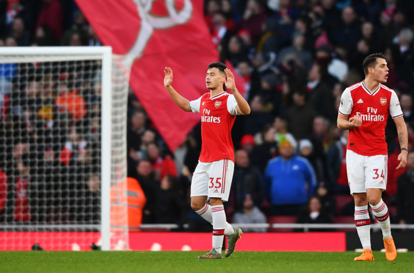 LONDON, ENGLAND - JANUARY 18: Gabriel Martinelli of Arsenal celebrates scoring his sides first goal during the Premier League match between Arsenal FC and Sheffield United at Emirates Stadium on January 18, 2020 in London, United Kingdom. (Photo by Clive Mason/Getty Images)