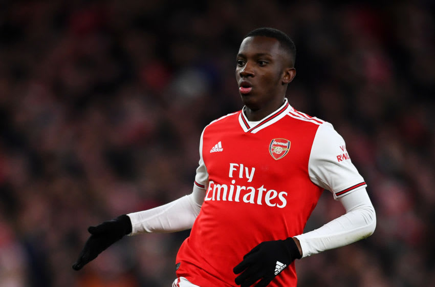 LONDON, ENGLAND - JANUARY 18: Eddie Nketiah of Arsenal in action during the Premier League match between Arsenal FC and Sheffield United at Emirates Stadium on January 18, 2020 in London, United Kingdom. (Photo by Clive Mason/Getty Images)