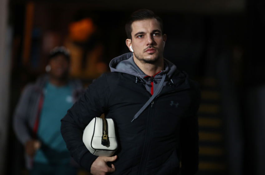 LONDON, ENGLAND - JANUARY 21: Cedric of Southampton arrives at the ground ahead of the Premier League match between Crystal Palace and Southampton FC at Selhurst Park on January 21, 2020 in London, United Kingdom. (Photo by Bryn Lennon/Getty Images)