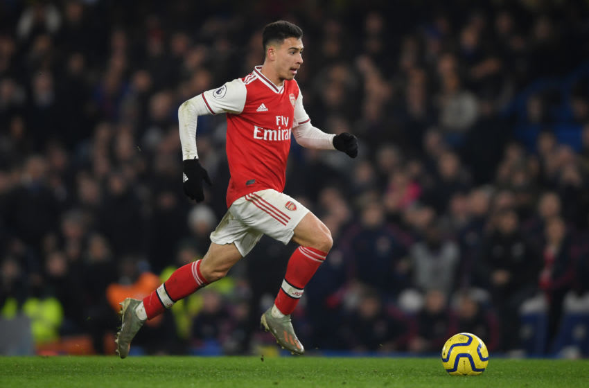 LONDON, ENGLAND - JANUARY 21: Gabriel Martinelli of Arsenal in action during the Premier League match between Chelsea FC and Arsenal FC at Stamford Bridge on January 21, 2020 in London, United Kingdom. (Photo by Mike Hewitt/Getty Images)