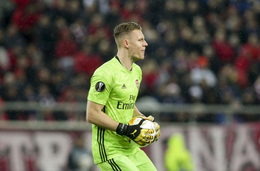 PIRAEUS, GREECE - FEBRUARY 20: Bernd Leno of Arsenal FC during the UEFA Europa League round of 32 first leg match between Olympiacos FC and Arsenal FC at Karaiskakis Stadium on February 20, 2020 in Piraeus, Greece. (Photo by MB Media/Getty Images)