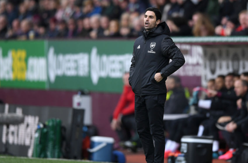 BURNLEY, ENGLAND - FEBRUARY 02: Mikel Arteta, Manager of Arsenal looks on during the Premier League match between Burnley FC and Arsenal FC at Turf Moor on February 02, 2020 in Burnley, United Kingdom. (Photo by Gareth Copley/Getty Images)
