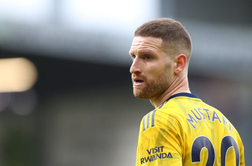 BURNLEY, ENGLAND - FEBRUARY 02: Shkodran Mustafi of Arsenal looks on during the Premier League match between Burnley FC and Arsenal FC at Turf Moor on February 02, 2020 in Burnley, United Kingdom. (Photo by Alex Livesey/Getty Images)